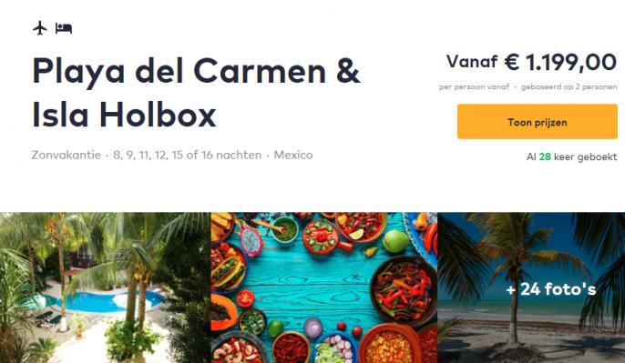 Screenshot van de Mexico aanbieding