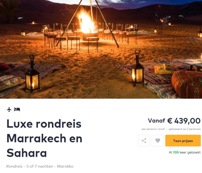 Screenshot van de Marokko deal