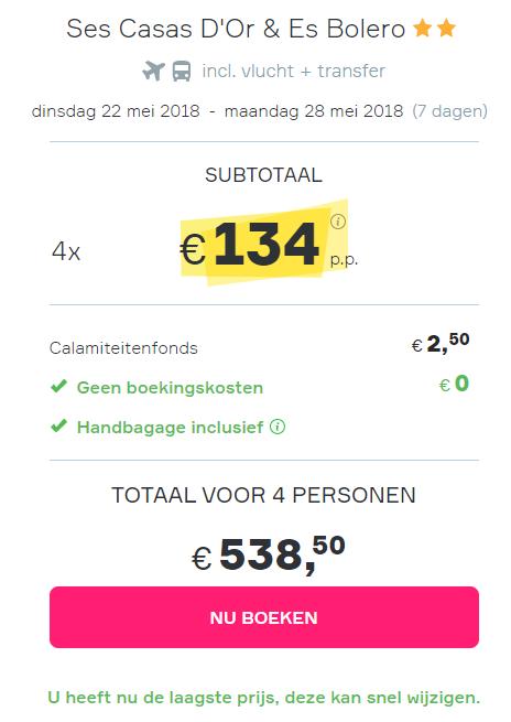 Screenshot van de goedkope vakantie