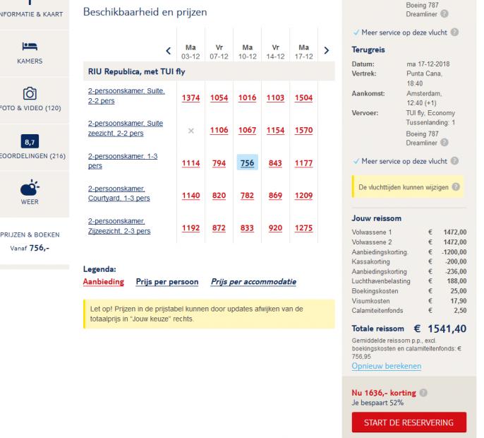 Screenshot van de aanbieding