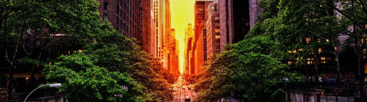 Zonsondergang in Manhattan, New York