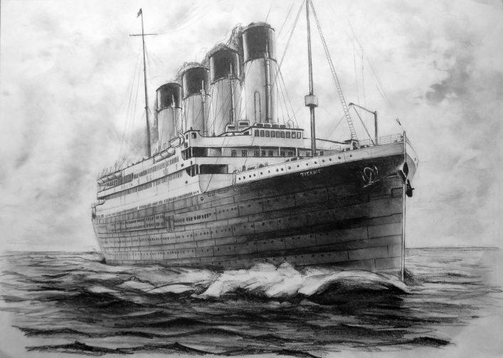 tekening van de Titanic