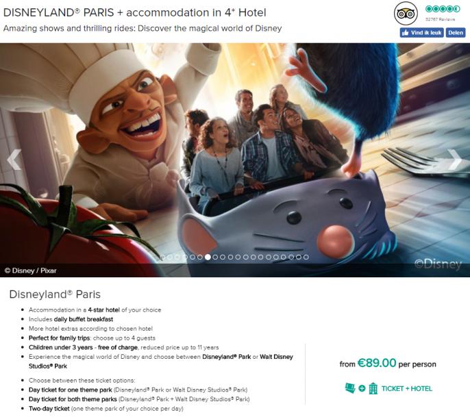 Screenshot van de Disneyland deal