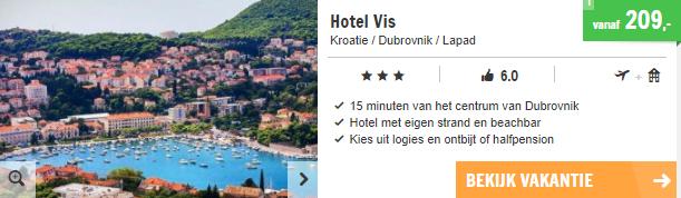 Screenshot van de Dubrovnik aanbieding