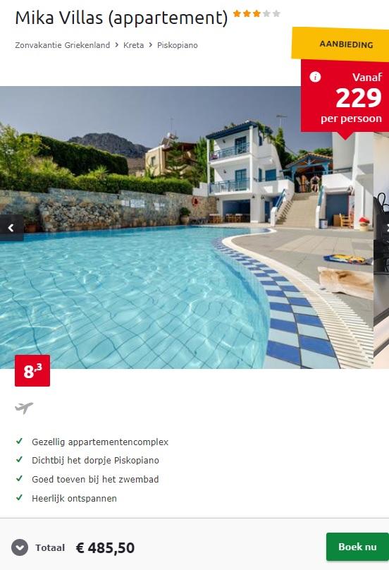 Screenshot van de Kreta aanbieding