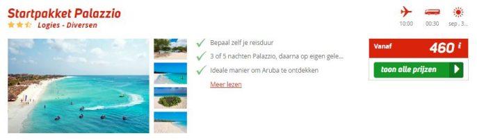 Screenshot van de Aruba aanbieding