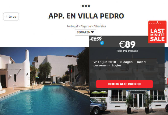Screenshot van de Albufeira deal