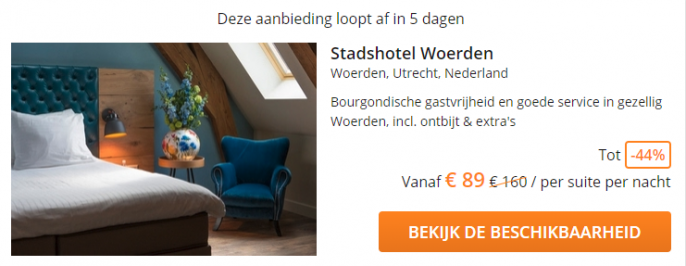 Screenshot van de Stadshotel woerden deal
