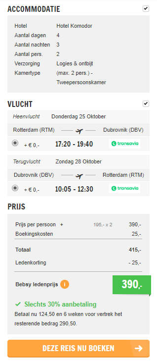 Screenshot van de Dubrovnik deal