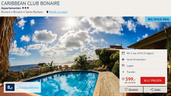 Screenshot van de Bonaire aanbieding