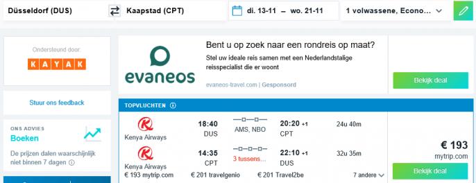 Screenshot van de Kaapstad vluchten