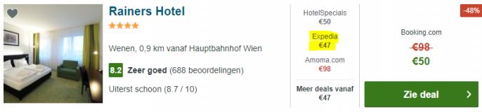 Screenshot van de Wenen aanbieding
