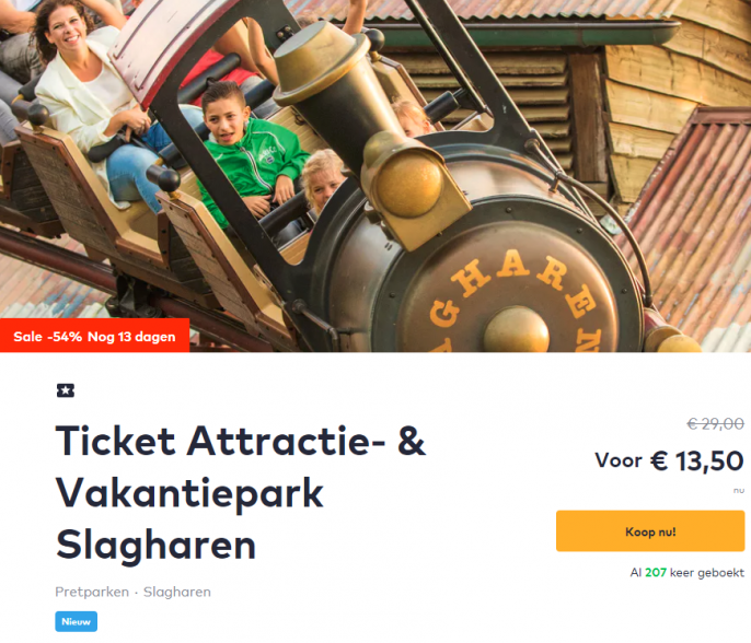 Screenshot van de Slagharen tickets