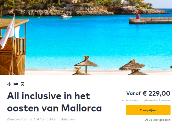 Screenshot van de all inclusive Mallorca deal