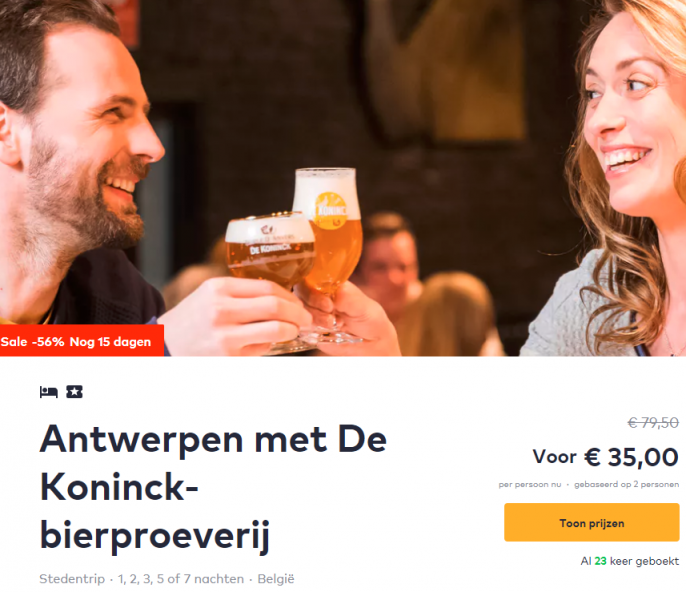 Screenshot van de Antwerpen aanbieding