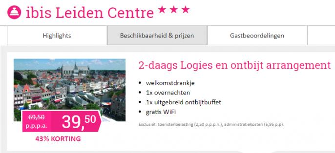 Screenshot van de hotel Leiden aanbieding