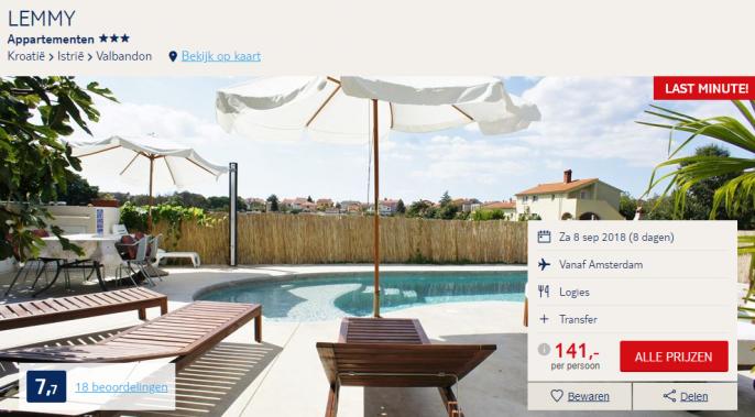 Screenshot van de Kroatie appartementen