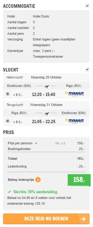 Screenshot van de Riga aanbieding