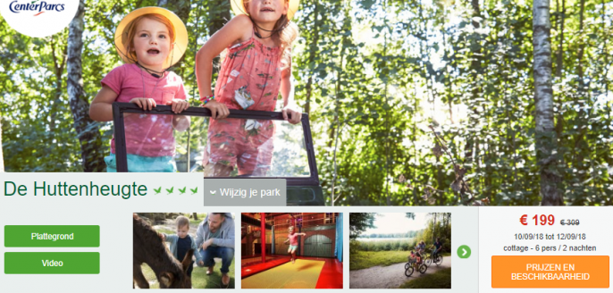 Screenshot van de Center Parcs aanbieding