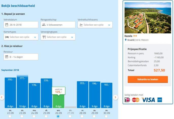Screenshot van de Kroatie aanbieding