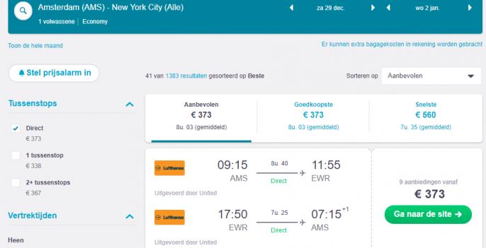 Screenshot van de vluchten New York