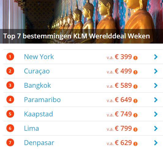 KLM werelddealweken aanbiedingen