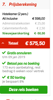 Screenshot van de deal