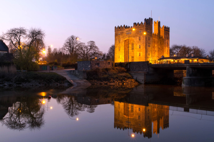 Bunratty castle at dusk County Limerick IrelandiStock_000016269851_Large-2