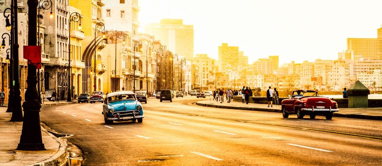 Traffic at Malecon, Havana, Cuba