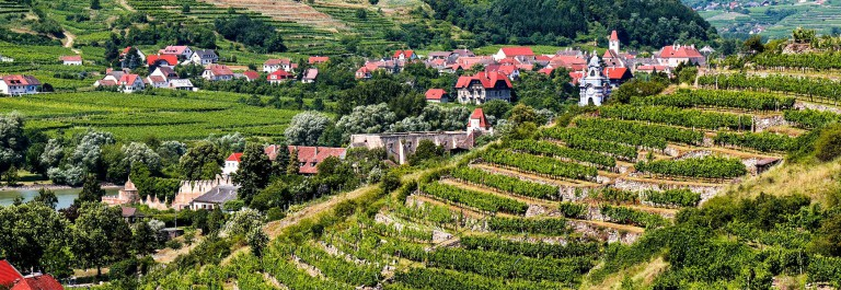 View-over-terraced-vineyards-to-Durnstein,-Wachau,-Lower-Austria-iStock_000031077984_Large-2