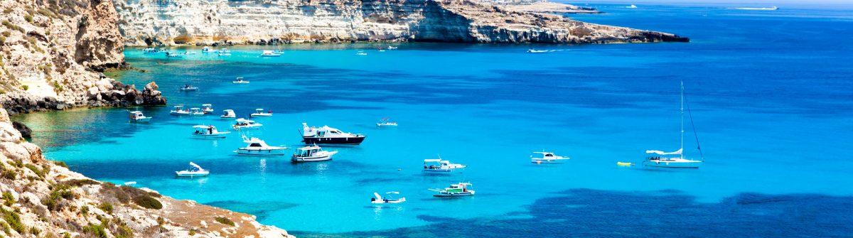Anchored yachts