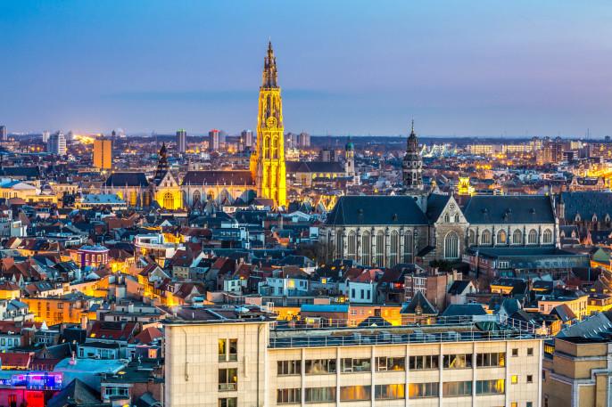 Antwerp cityscape at dusk