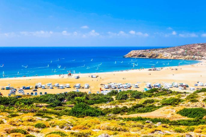 Beach Prasonisi. Rhodes Island. Greece