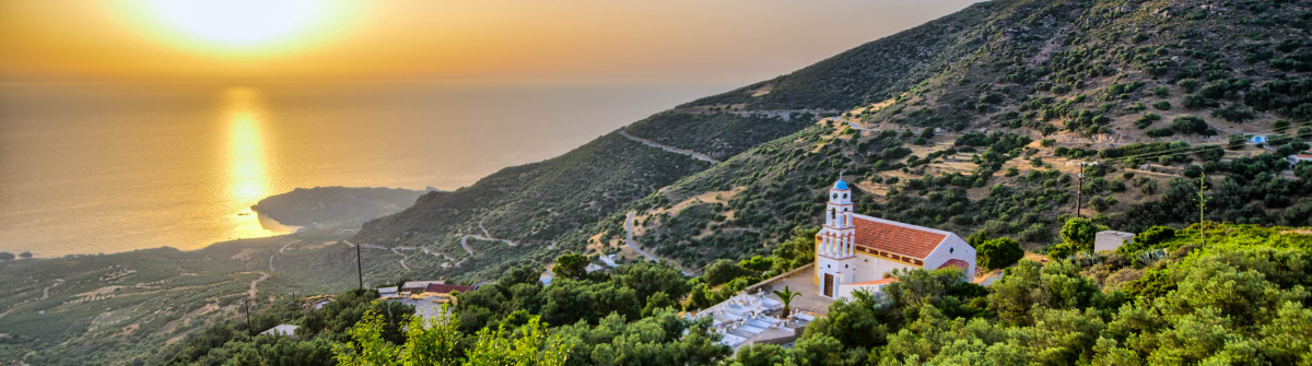 Sunset on the Crete with little church
