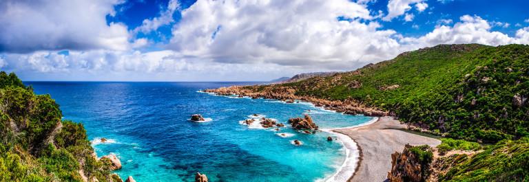 Beautiful ocean coastline in Costa Paradiso, Sardinia