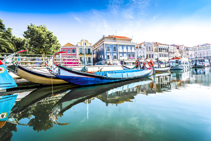 The panorama of Aveiro city and canal with boats, Portugal shutterstock_123341143-2