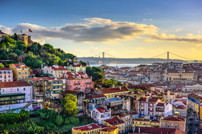 Lisbon, Portugal Skyline and Castle