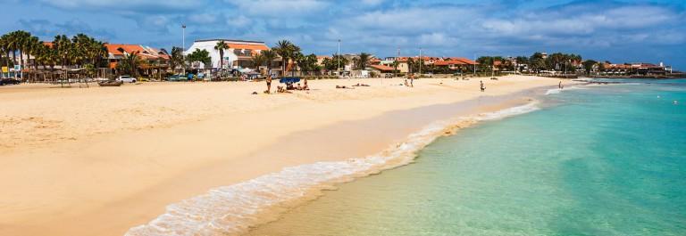 Aerial view of Santa Maria beach in Sal Island Cape Verde – Cabo Verde