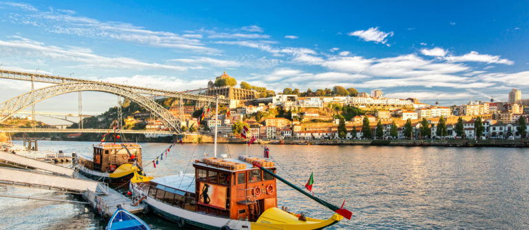 Traditional boat in the Douro River. Porto, Portugal