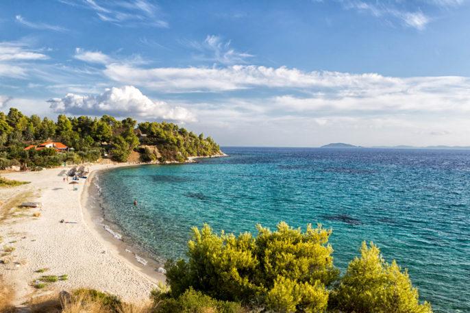 Aerial view of Koviou beach in Halkidiki, Greece