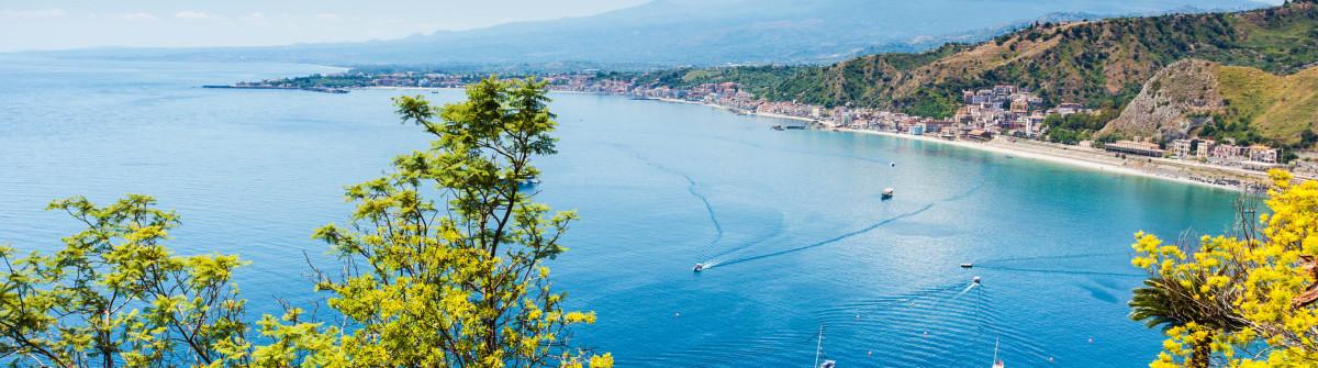 Scenic view of Taormina coastline in Sicily