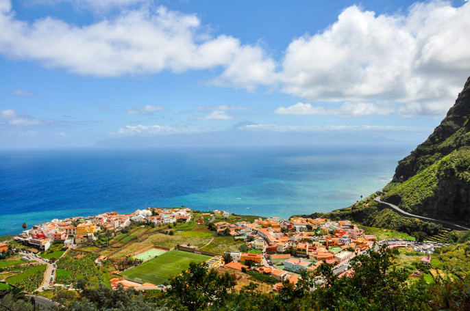 An overview of La Gomera at daytime