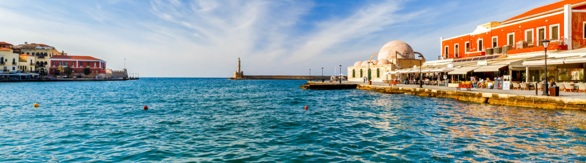 Old harbour in sunny day, Chania, Crete, Greece