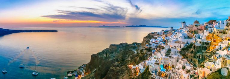 Panorama of Oia at sunset, Santorini, Greece