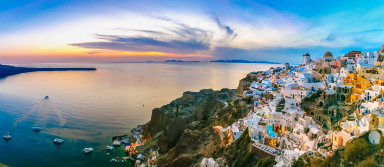 Panorama of Oia at sunset, Santorini, Greece